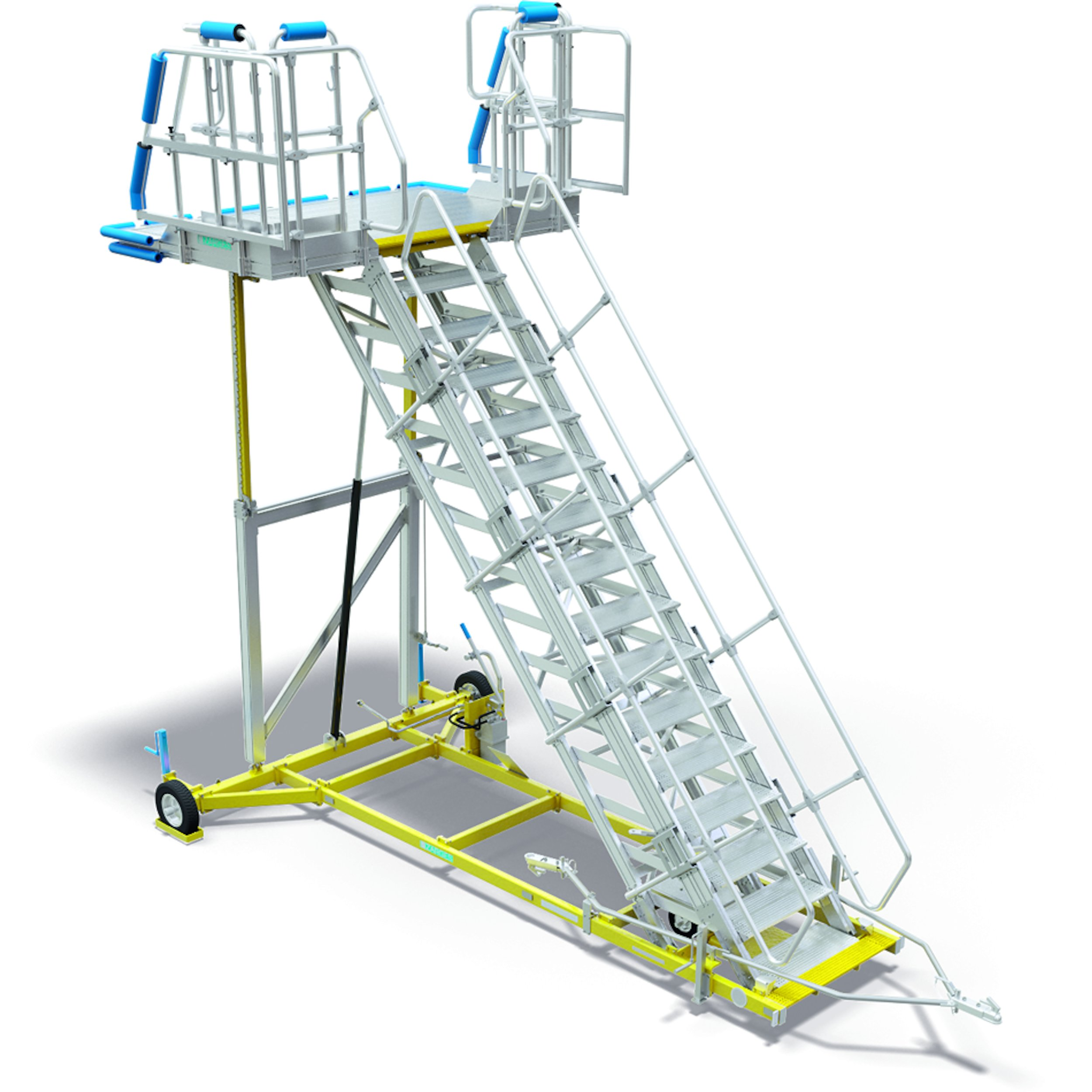 Universal maintenance stairs with height adjuster for the